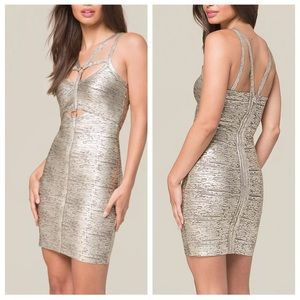 NWT Bebe Foil Cage Strappy Harness Bandage Dress